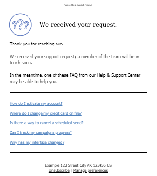 Support Request Email Template